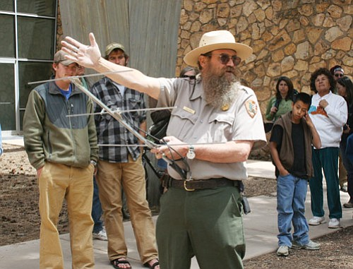 Ranger Ron Brown explains how telemetry is used to track wildlife in the park. The demonstration was part of last Saturday's Wildlife Day.
