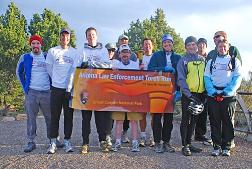 Law enforcement rangers took part in a torch run for the Special Olympics last month. The rangers participate annually.