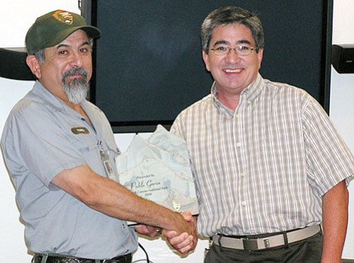 <br>Photo/Courtesy of National Park Service<br> Grand Canyon National Park Maintenance Mechanic Supervisor Pablo Garza receives his 2008 Franklin G. Smith Award from National Park Service Intermountain Regional Director Mike Snyder.