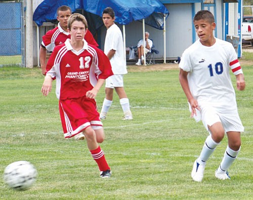 Photo/Jackie Brown Freshman Phantom Luke Streit chases down down the ball during the Sept. 12 loss to Chino Valley.