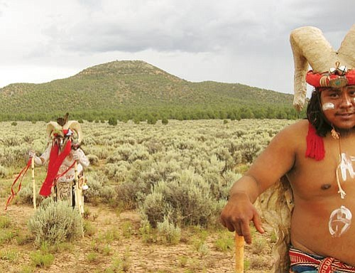 <br>Photo/Brenda Norrell<br> Guardians of the Grand Canyon pause before sacred Red Butte, pictured left.