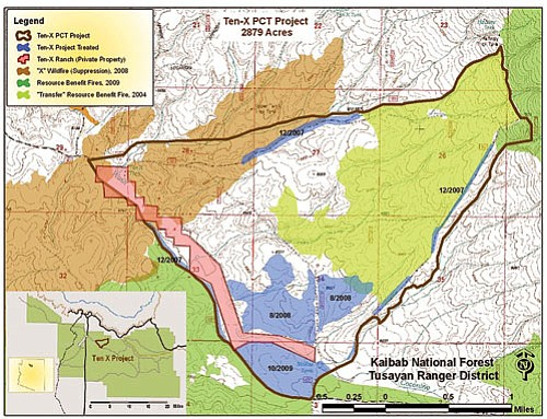 <br>Map courtesy Kaibab National Forest<br> While fire managers initially burned the 10/2009 area shown above, they hope to continue burning near Forest Road 303 this week.