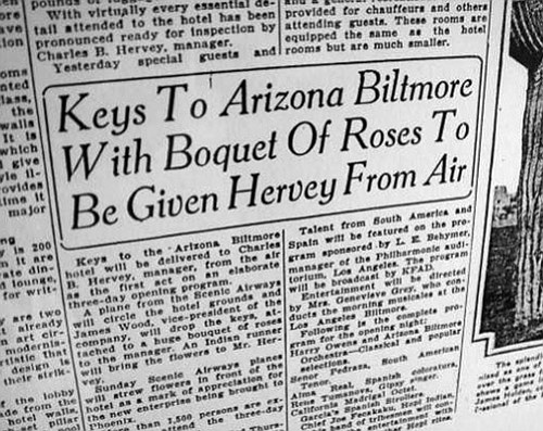 <br>Submitted photo<br> A 1929 newspaper article on the original grand opening of the Arizona Biltmore.