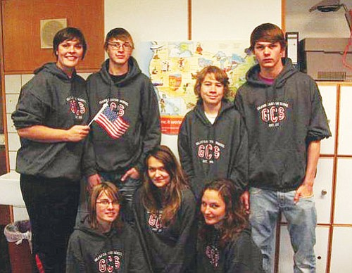 <br>Submitted photo<br> The German students, along with their teacher Kristina Gotthardt, show off their Grand Canyon sweaters.