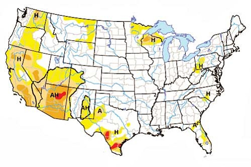 The above image shows the drought conditions as of December. Areas in red are under extreme drought conditions. Dark orange shows severe drought conditions.