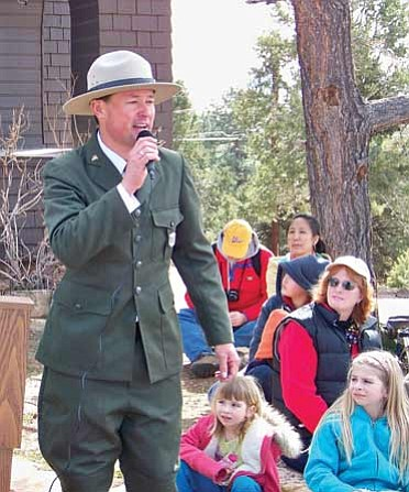 <br>Photo/WGCN<br> Interpretive Ranger David Smith speaks to the crowd during the 90th anniversary celebration.