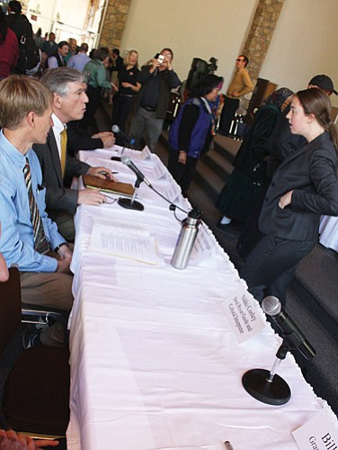 <br>Patrick Whitehurst/WGCN<br> Speakers prepare to address congress members during a special hearing at the Shrine of Ages at the Grand Canyon's South Rim.