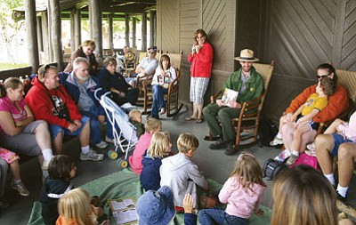 <i>Patrick Whitehurst/WGCN</i><br> Youth at the Grand Canyon National Park take a break from their junior ranger training to attend story time at the El Tovar Hotel.