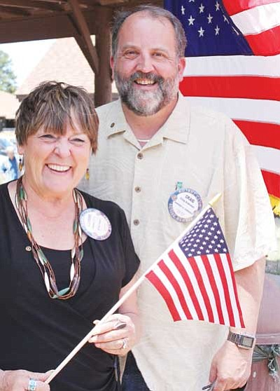 <br>Patrick Whitehurst/WGCN<br> Grand Canyon Chamber of Commerce President Clayann Cook and Chamber Executive Director Craig Andresen are expecting big numbers for the 2010 Fourth of July celebration in Tusayan.