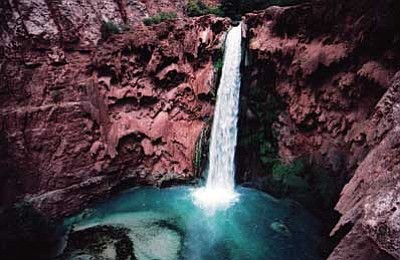 <br>Photo/Carl Wells<br> Mooney Falls on the Havasupai Reservation.