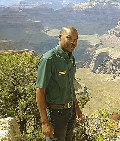 <br>Courtesy photo<br> Marc Jean-Baptiste of the Seychelles Islands Foundation at the South Rim.