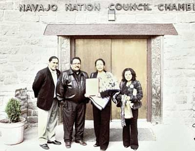 <br>Photo/Laphillda Tso<br> Pictured left to right: Eric Descheenie, Legislative Staff Assistant; Thomas Walker, Council Delegate (Birdsprings/Leupp/Tolani Lake);  Carletta Tilousi, Havasupai Tribe Councilwoman: and Hertha Woody, Sierra Club Volunteer. Absent is Edmund Tilousi, Havasupai Tribe Vice Chair.