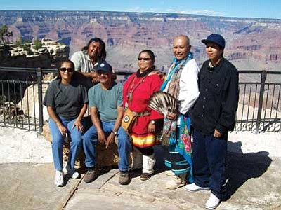 Photo Courtesy Kaibab National Forest<br> Members of the Havasupai Tribe at the Mather Amphitheater with the view of the Grand Canyon in the background