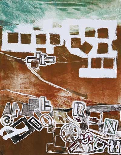 Submitted photos<br> Flagstaff artist Rachel Wilson will be the South Rim Artist in Residence in December. Top: Green Sky with Ruins; acrylic and mixed media on canvas. Bottom: Strata II; acrylic on canvas.