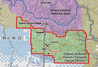 Map courtesy of Grand Canyon Trust<br> Yellow dots denote existing uranium mining claims on the Tusayan Ranger District.