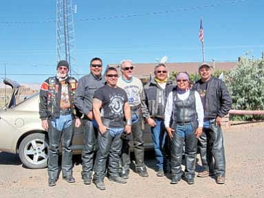 Submitted photo<br> Pictured from left, Frank Lewis, NM Patriot Guard Rider; Larry Begay,  NHHR; Bobby Martin; King Cavalier, Founder Carry the Flame Across America; Larry Noble, Founder Navajo-Hopi Honor Run; Shelly Begay,  NHHR; Norman Begay NHHR.