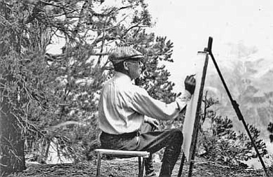 Photo courtesy of Alan Petersen<br> Swedish born artist Gunnar Widforss works on the South Rim of the Grand Canyon. Widforss lived and worked at the Canyon beginning near the end of the 1920s until his death in 1934.