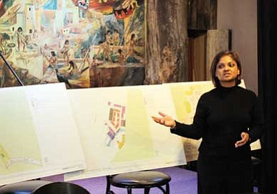 Clara Beard/WGCN<br> Manjula Vaz with Gammage & Burnham P.L.C. and representing Stilo Group presents initial development plans for Tusayan to residents at a public forum held March 3.