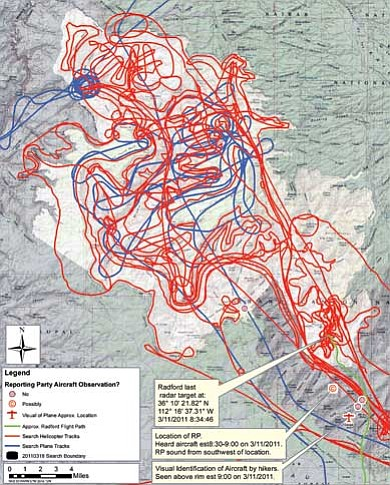 Map courtesy of NPS<br> Blue lines represent higher elevation search flights by Grand Canyon National Park fixed-wing aircraft. Red lines indicate lower, slower search flights by the park's helicopter.  The green line is the radar track of Radford's RV6 on Friday, March 11.