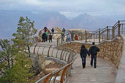 Photo courtesy National Park Service<br> Visitors enjoy the view from Mather Point on the South Rim of Grand Canyon.