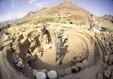 Photo/Tom Bartels<br> A kiva feature is excavated from the Palisades site in the Grand Canyon. The excavation, the first in nearly 40 years in the park, was the result of collaboration between the National Park Service, Museum of Northern Arizona and the Grand Canyon Association.