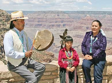 Submitted photo<br> James Peshlakai performs along Grand Canyon South Rim. Native American art shows and performances will be held in Tusayan over Memorial Day Weekend.