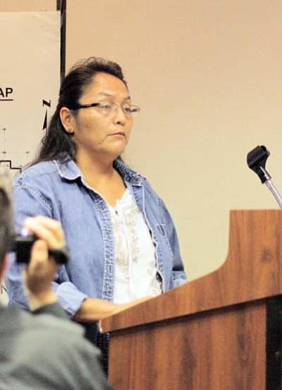 Clara Beard/WGCN<br> Havasupai tribal representative Carletta Tilousi conveys her concern regarding  water supply should Tusayan officials opt to annex Ten-X.