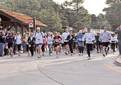 Courtesy photo<br> Participants in last year's Grand Canyon Marathon run through Grand Canyon National Park near the start of the race.