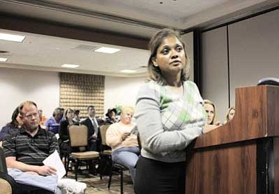 Clara Beard/WGCN<br> Gammage & Burnham Attorney Manjula Vaz answers questions from the P&Z commission during  the Oct. 17 public hearing.
