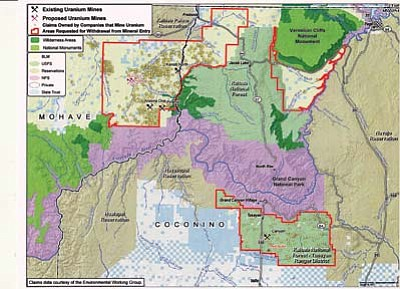 Map courtesy of Grand Canyon Trust<br> White dots denote existing uranium mining claims on the Tusayan Ranger District.