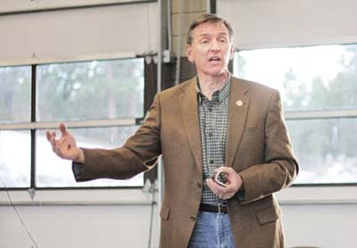 Clara Beard/WGCN<br> Congressman Paul Gosar speaks to members of the Tusayan community during a town hall meeting held Jan. 7.