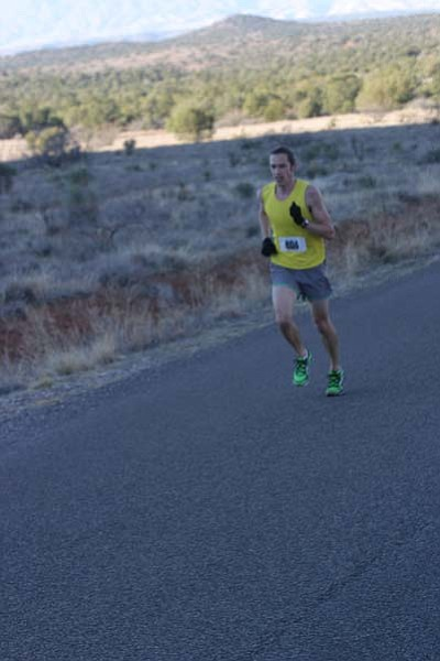 Submitted photo<BR> Trevor Johannsen from Grand Canyon runs toward his Sedona Half-Marathon victory Feb. 4 with a time of 1:21:36.