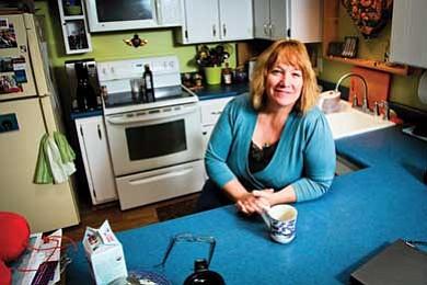 South Rim Artist in Residence Program Coordinator Rene Westbrook takes a short coffee break at home.