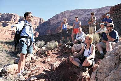 Photo/Mike Buchheit<br /><br /><!-- 1upcrlf2 -->Grand Canyon Field Institute instructor Gary Bolton discusses the plant communities found along the Eminence Break Route in the Grand Canyon.