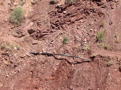 An aerial view of a pipeline break on South Kaibab Trail. <i>Photo/National Park Service</i>