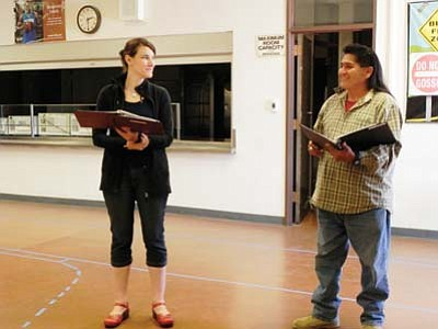 Cecily Overman (portraying architect Mary Colter) and Filmer Kewanyama (portraying artist Fred Kabotie) rehearse for the play. Submitted photo