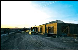 The Macrae Glass office building under construction along Hualapai Mountain Road on Wednesday evening. Photo: JC AMBERLYN/Miner