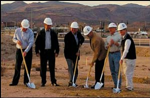From left to right, Mohave State Bank Board members Tom Schrimsher, Jim Baker and Steve Lee, Senior Vice President and Kingman Branch Bank Manager Don Vawter, contractor Toby Orr and architect Paul Selberg broke ground on a new, approximately 21,000 square-foot Mohave State Bank branch along Hualapai Mountain Road last Tuesday. They are hoping to complete construction by mid-November. Photo: Courtesy