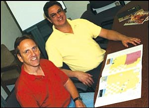 Tony Kuc (left) and Dave Kreitel are the masterminds behind the new Mohave County,  AZ Road Guide. JC AMBERLYN/ Miner