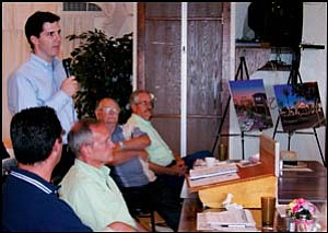 Ryan Desmond from Vestar speaks to the crowd during the Mohave County Republican Forum at the Elks Lodge on Tuesday evening. JC AMBERLYN/Miner