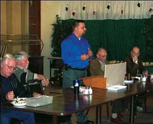 City Council candidate Todd Tarson speaks at the Kingman Republican Men's Club at the Elk's Lodge Monday.  ANDRAYA WHITNEY/Miner