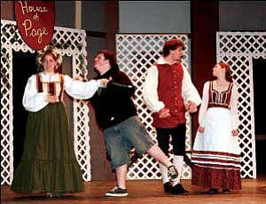 """KHS drama students Emily Vandevier, Shane Covey, Andrew Michael and Chelsey Burden practice Thursday for the production of the Shakespeare's """"The Merry Wives of Windsor."""" JC AMBERLYN/Miner"""