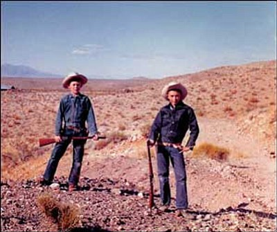 """Courtesy Photo <br>Bob """"Boze"""" Bell, left, and childhood friend Daniel Harshberger stand outside the ghost town of White Hills in 1959."""