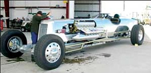 Gary Rucker's Streamliner mega-rod recently re-enacted the 1928 land speed record of 225 mph in Ormond Beach, Fla. Courtesy