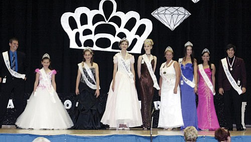 Courtesy<br><br> From left to right are: Christian Taylor – Mr. Lake Havasu City; Katelyn Northover – LHC Young; Alexa Russo – Kingman Young Teen; Clara Bennett – Kingman Teen; Brittany Carey – LHC Teen; Kelli Wallin – LHC Miss; Clara Gregory – Kingman Ms,; Heather Joyce – LHC Ms.; and Alex Rahnema – LHC Mr. Teen.