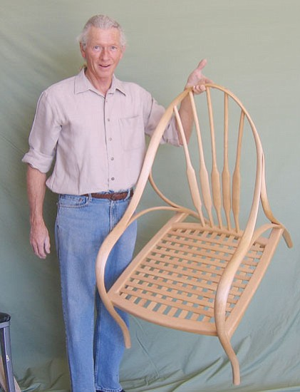 TERRY ORGAN/Miner<br><br> Robert Galusha shows his custom-made maple chair he will enter into a national competition.