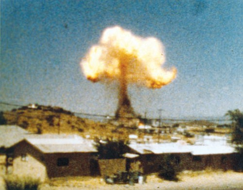 MOHAVE MUSEUM/Courtesy<br> A distant view of the explosion on July 5, 1973.