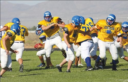 The Bulldogs mix it up at football practice at KHS Friday afternoon.<br> JC AMBERLYN/Miner