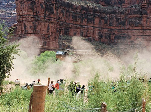 The rescue continues...<br> <i>Photo by Joel Masson, Courtesy of Grand Canyon News