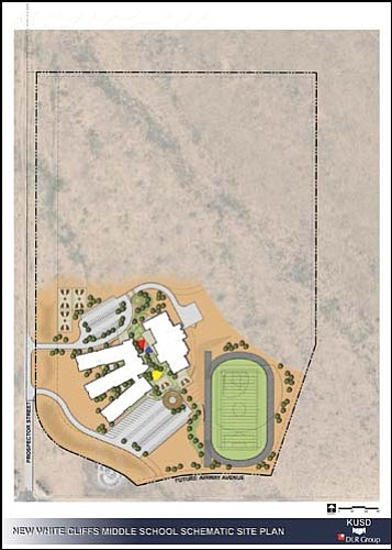 The Kingman Unified School District Governing Board approved at their meeting on Tuesday the site layout for the new White Cliffs Middle School at the intersection of Airway Avenue and Prospector Street.<br>Courtesy